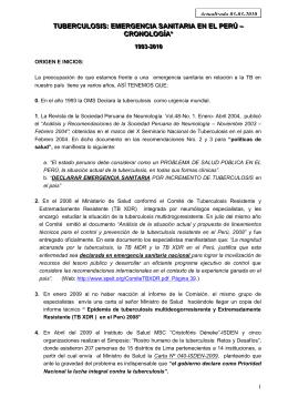 Tuberculosis. Emergencia sanitaria en el Perú. Cronología 1993