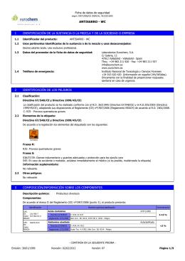 Ficha de datos de seguridad de `ANTISARRO - WC