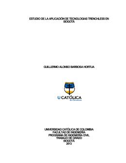APLICACIÓN DE TECNOLOGIAS TRENCHLESS EN BOGOTA
