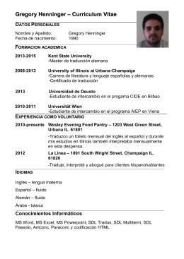 Gregory Henninger – Curriculum Vitae DATOS