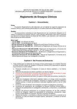 Reglamento de Ensayos Clínicos - INSN Instituto Nacional de
