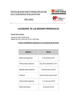 calendario de las sesiones presenciales postgrado