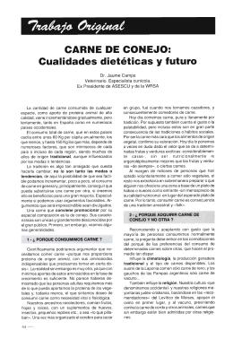 CARNE DE CONEJO: Cualidades dietéticas y futuro