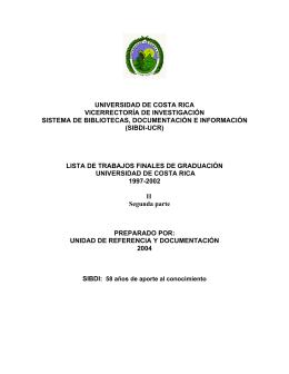 tabla de contenidos - Biblioteca de la Universidad de Costa Rica