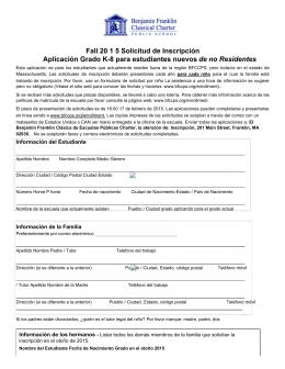 Fall 20 1 5 Solicitud de Inscripción Aplicación Grado K8