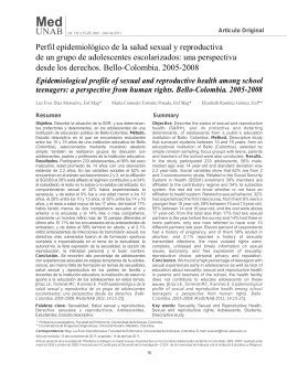 Perfil epidemiológico de la salud sexual y reproductiva de un grupo