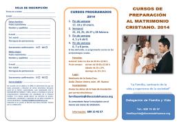 CURSOS DE PREPARACIÓN AL MATRIMONIO CRISTIANO. 2014