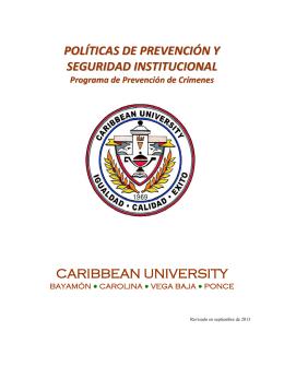 políticas de prevención y seguridad institucional caribbean university