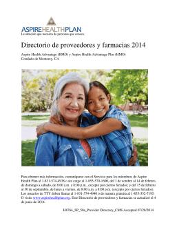 Directorio de proveedores y farmacias 2014