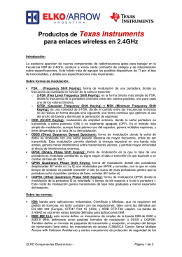 Productos de Texas Instruments para enlaces wireless en 2.4GHz