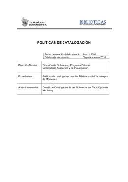 POLÍTICAS DE CATALOGACIÓN - Biblioteca digital del Tecnológico