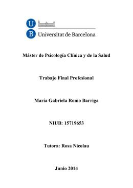 Máster de Psicología Clínica y de la Salud Trabajo Final Profesional