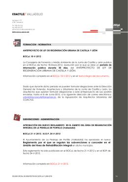 COACYLE/ VALLADOLID 20|pl - Colegio Oficial de Arquitectos de