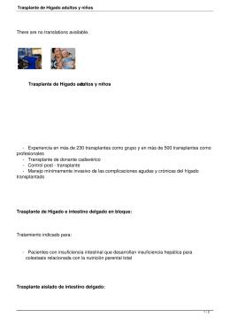 Trasplante de Hígado adultos y niños