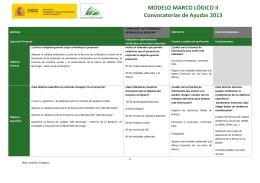 MODELO MARCO LÓGICO II Convocatorias de