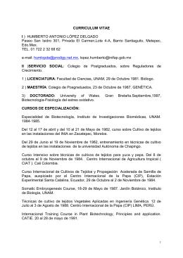 CURRICULUM VITAE I ) HUMBERTO ANTONIO LÓPEZ