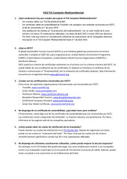 FAQ TUI Campeón Medioambiental