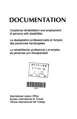 DOCUMENTATION Vocational rehabilitation and employment