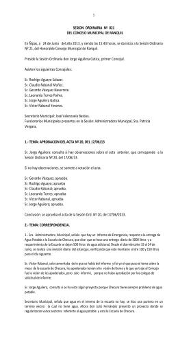 SESION ORDINARIA Nº 21 - 2013