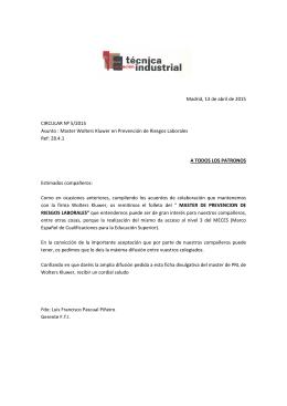Circular Master Universitario PRL 2014