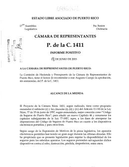P. de la C. 1411 - Cámara de Representantes de Puerto Rico