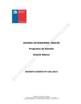 IDIOMA EXTRANJERO: INGLÉS Programa de