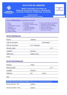 solicitud de admisión