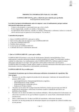 INFORMACIÓN PARA EL USUARIO GAMMAGARD S/D 10 g, polvo