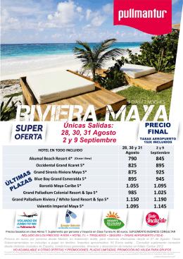 Oferta Riviera 28 Agosto a 9 Septiembre