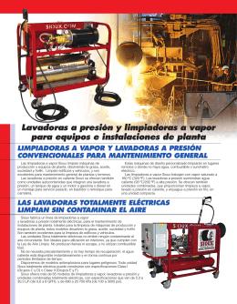 Lavadoras a presión y limpiadoras a vapor para equipos e
