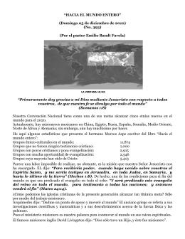 """""""HACIA EL MUNDO ENTERO"""" (Domingo 05 de diciembre de 2010"""