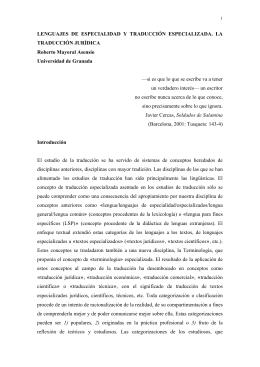 LENGUAJES DE ESPECIALIDAD Y TRADUCCIÓN