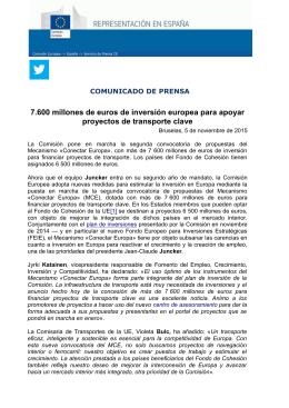 7.600 millones de euros de inversión europea para apoyar