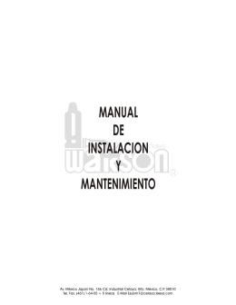 MANUAL DE INSTALACION Y MANTENIMIENTO