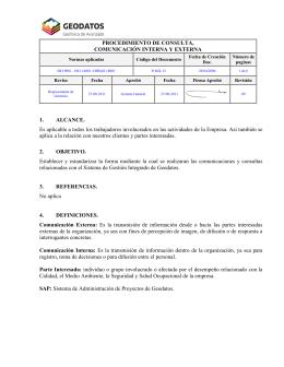PROCEDIMIENTO DE CONSULTA, COMUNICACIÓN