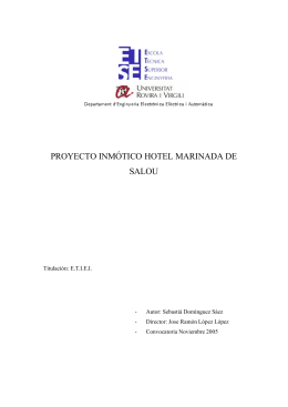 PROYECTO INMÓTICO HOTEL MARINADA DE SALOU