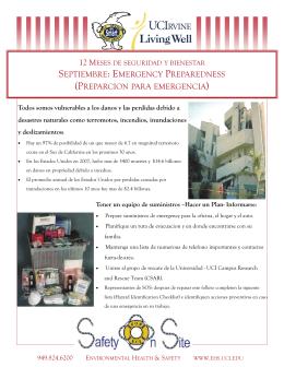 septiembre: emergency preparedness (preparcion para