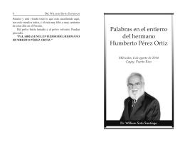 Palabras en el entierro del hermano Humberto Pérez Ortiz