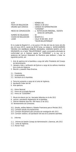 NÚMERO 061 FECHA DE REALIZACION : MARZO 15
