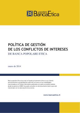 política de gestión de los conflictos de intereses
