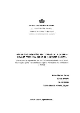 informe de pasantías realizadas en la empresa aduana principal