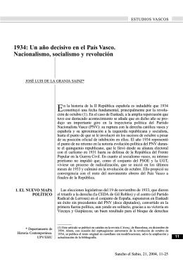 1934: Un año decisivo en el País Vasco. Nacionalismo