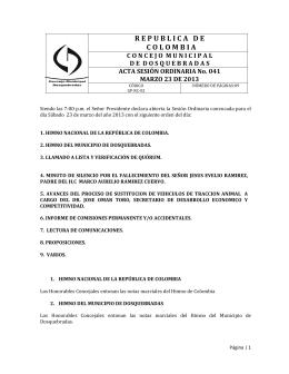 Acta 041 - Concejo Municipal de Dosquebradas