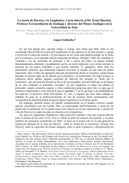 La teoría de Darwin y la Lingüística. Carta abierta al Dr. Ernst