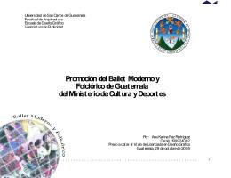 Promoción del Ballet Moderno y Folclórico de Guatemala del
