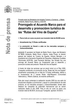 Nota de prensa completa  - Ministerio de Industria, Energía y