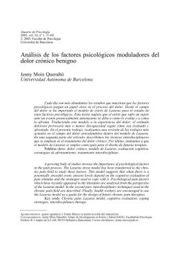 Análisis de los factores psicológicos moduladores del dolor