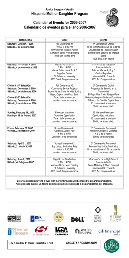 Hispanic Mother-Daughter Program Calendar of Events for 2006