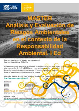 MASTER Análisis y Evaluación de Riesgos Ambientales en el