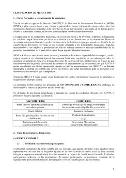clasificación de productos en Renta 4